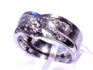 Žiedas Nr.112 (dviejų dalių žiedas, iš balto aukso, su briliantais)
