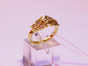 Žiedas Nr.117 (iš geltono aukso, puoštas drugeliais ir briliantais)
