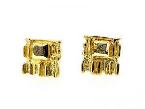 Auskarai Nr.120 (iš aukso, puošti nešlifuotais deimantais)