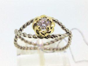 Žiedas Nr.123 (su briliantu, iš balto ir geltono aukso)