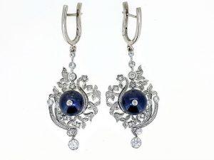 Auskarai Nr.125 (su perlais ir cirkonais, iš aukso)