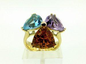 Žiedas Nr.140 (iš aukso, puoštas ametistu, citrinu, topazu)