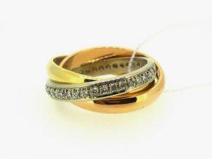 Žiedas Nr.141 (iš trijų spalvų aukso, puoštas brangakmeniais)