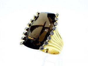 Žiedas Nr.158 (iš aukso, su dūminiu kvarcu ir briliantais)