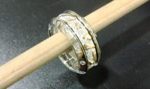 Žiedas Nr.17 (trijų dalių, iš platinos, puoštas geltonu auksu ir briliantais)