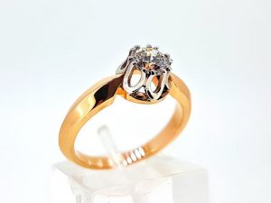 Žiedas Nr.175 (su briliantu, iš dviejų spalvų aukso)