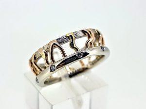 Žiedas Nr.186 (iš trijų spalvų aukso, su briliantais)