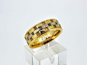Žiedas Nr.187 (su žaliais briliantais, iš aukso)