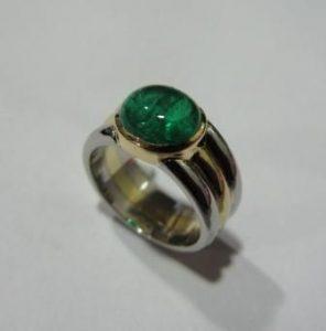 Žiedas Nr.20 (iš geltono ir balto aukso, su žadeitu)