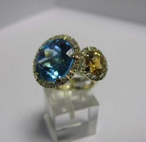 Žiedas Nr.20 (iš geltono aukso, su topazu ir citrinu)