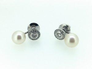 Auskarai iš platinos arba aukso, su briliantais ir perlais