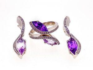 Auskarai ir žiedas su ametistu ir briliantais