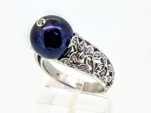 Žiedas Nr.205 (su perlu ir cirkonais, iš aukso)
