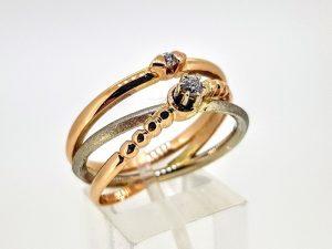 Žiedas Nr.208 (su briliantais, iš dviejų spalvų aukso)
