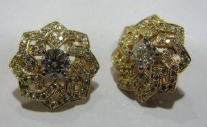 Auskarai Nr.21 (su brangakmeniais iš geltono, raudono arba balto aukso)