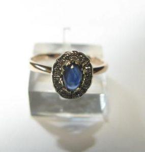 Žiedas Nr.29 (iš balto aukso, su mėlynuoju opalu ir briliantais)