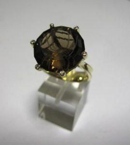 Žiedas Nr.34 (iš geltono aukso, su ruduoju arba kt.spalvos briliantu)