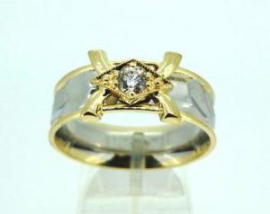 Žiedas Nr.43 (iš platinos, puoštas geltonu auksu ir deimantu)