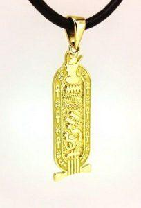 Pakabukas Nr.43 (iš geltono aukso, puoštas egiptietiškais simboliais)