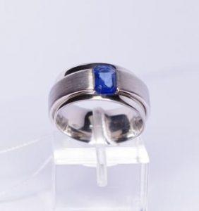 Žiedas Nr.47 (iš balto, geltono arba raudono aukso, su safyru)