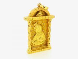 Religinis dirbinys Nr.4 (pakabukas su Šv.Marija, iš aukso)