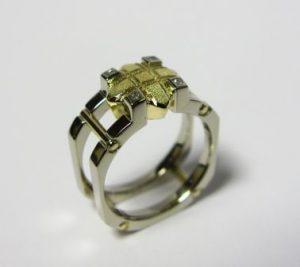 Žiedas Nr.5 (modernus, iš balto ir geltono aukso)