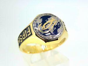 Vyriškas žiedas Nr.53 (iš aukso, puoštas emale ir briliantais)