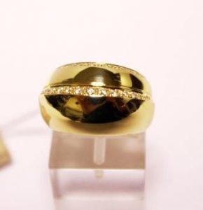 Žiedas Nr.57 (platus, iš geltono, raudono arba balto aukso, su briliantais)