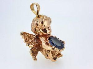 Religinis dirbinys Nr.5 (angelas, puoštas aleksandritu, iš aukso)