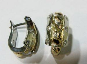 Auskarai Nr.5 (su briliantais, iš geltono ir balto aukso)