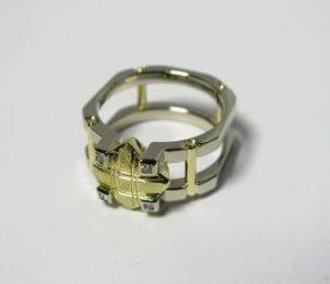 Žiedas Nr.6 (modernus, iš dviejų spalvų aukso arba platinos)