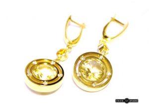 Auskarai Nr.62(iš geltono aukso, su citrinais ir briliantais)