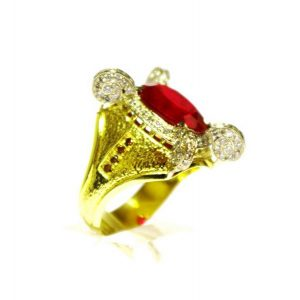 Žiedas Nr.66 (iš geltono aukso, puoštas rubinais ir briliantais)