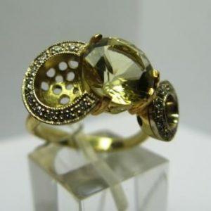 Žiedas Nr.7 (iš geltono aukso, su citrinu ir briliantais)