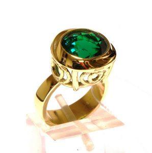 Žiedas Nr.72 (su Sworovskio kristalu, iš geltono, balto arba raudono aukso)