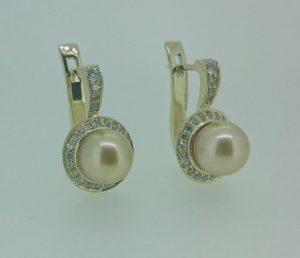 Auskarai Nr.74 (iš aukso, su geltonais perlais ir briliantais)