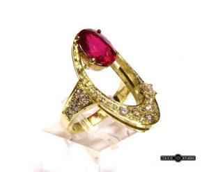 Žiedas Nr.76 (iš geltono aukso, puoštas rubinu ir briliantais)