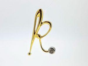 Pakabukas Nr.78 ( raidelė iš aukso, su briliantu)