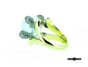Žiedas Nr.85 (su perlu ir briliantais, iš geltono ir balto aukso)