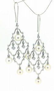Auskarai Nr.88 (su perlais ir briliantais, iš aukso)