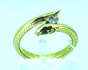 Žiedas Nr.91 (gyvatės formos, iš geltono aukso, su briliantu)