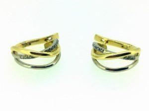 Auskarai Nr.94 (iš geltono ir balto aukso, su briliantais)