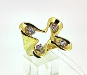 Žiedas Nr.99 (iš geltono aukso, puoštas baltu auksu ir briliantais)