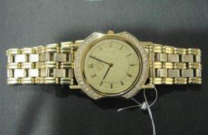 Laikrodis Nr.2(rankų darbo auksinis laikrodis, inkrustuotas briliantais)