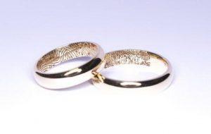Vestuviniai žiedai Nr.110 (iš geltono aukso,su pirštų anspaudais)
