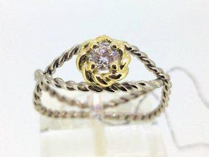 Sužadėtuvių žiedas Nr,113 (su briliantu, iš balto ir geltono aukso)