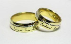Vestuviniai žiedai Nr.113 (iš geltono aukso,su autentišku užrašu)