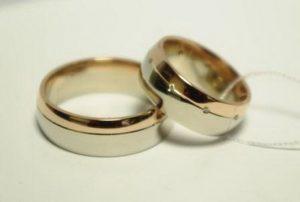 Vestuviniai žiedai Nr.114 (iš balto ir raudono aukso, mot.-su briliantais)