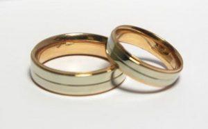 Vestuviniai žiedai Nr.116 (su raudono aukso vidumi ir balto aukso išore)