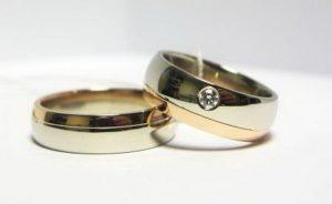 Vestuviniai žiedai Nr.120 (iš balto ir raudono aukso, mot.-su briliantu)